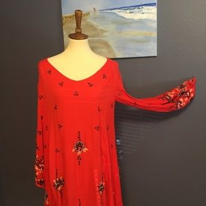 Large FREE PEOPLE flirty embroidered dress.